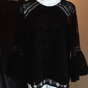 Laundry by Shelli Segal lace and velvet blouse NWT